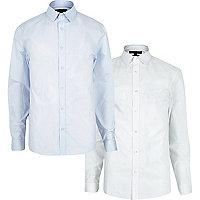 Lot de chemises cintrées blanche et bleue