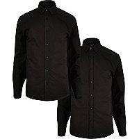 Black smart slim fit shirts multipack
