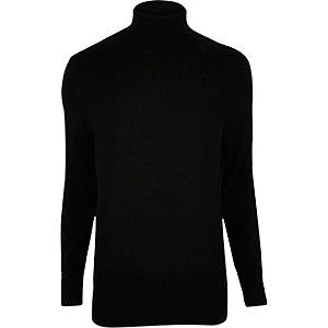 Black roll neck jumper