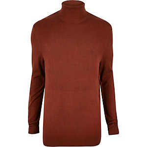 Red roll neck sweater