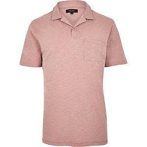 Pink slub cotton polo shirt