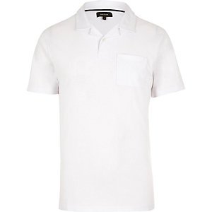 White revere collar polo shirt