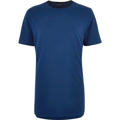Blauw T-shirt met sportieve bies