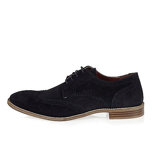 Chaussures richelieu en daim bleu marine