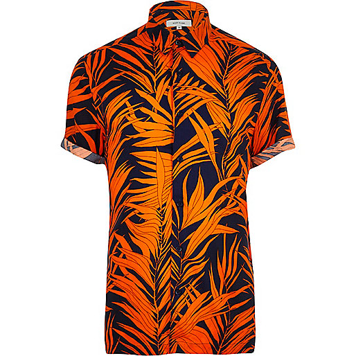 Orange palm print short sleeve shirt