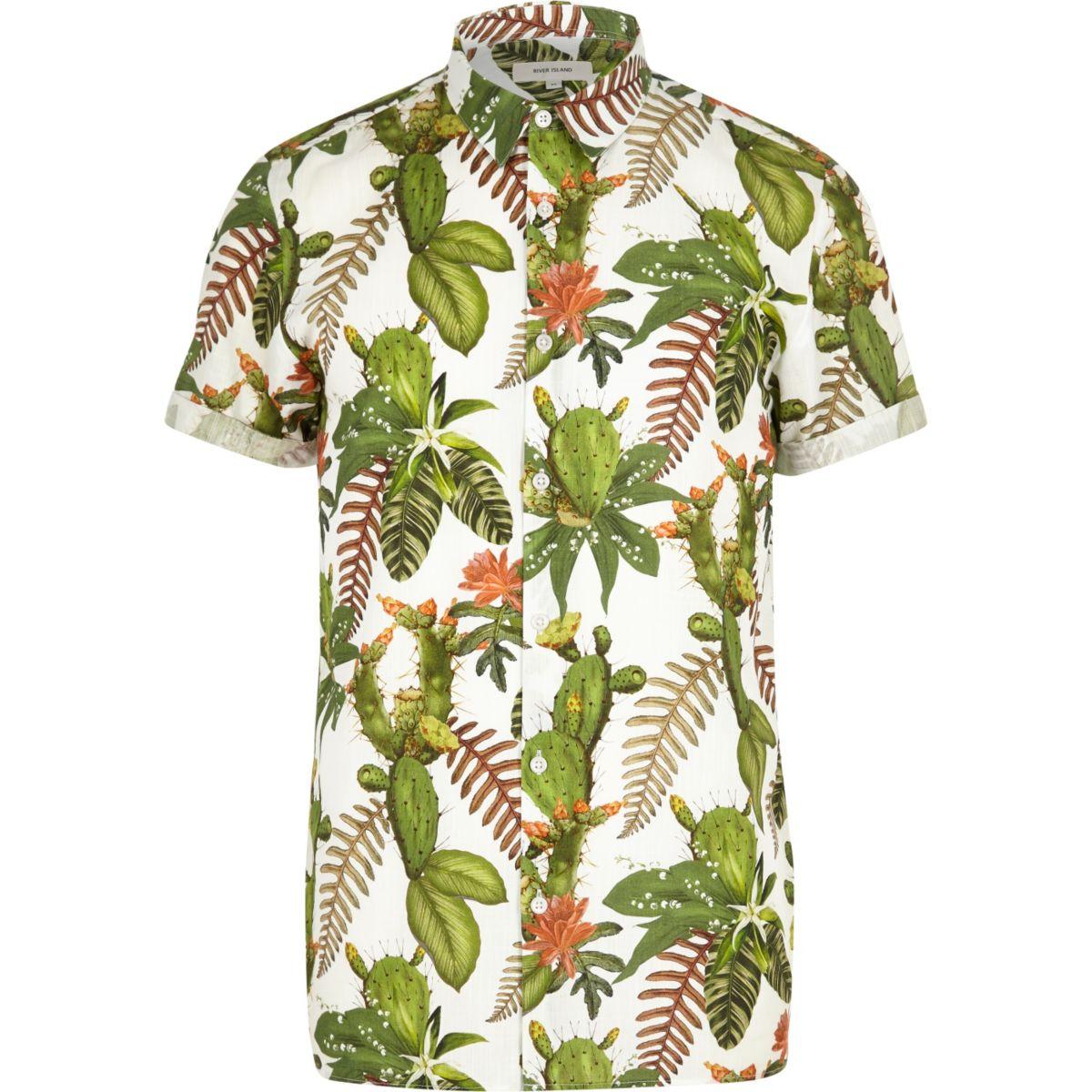 Green cactus flower print short sleeve shirt
