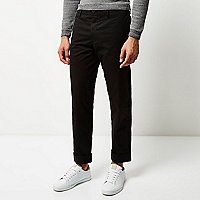 Black wide leg chino trousers