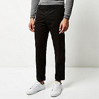 Black wide leg chino pants