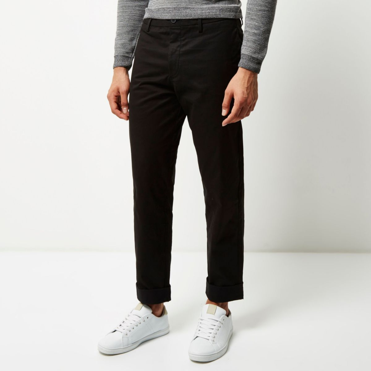 Black wide leg chino pants
