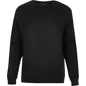 Black embossed slogan print sweatshirt