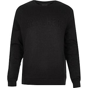 Black embossed slogan print sweatshirt