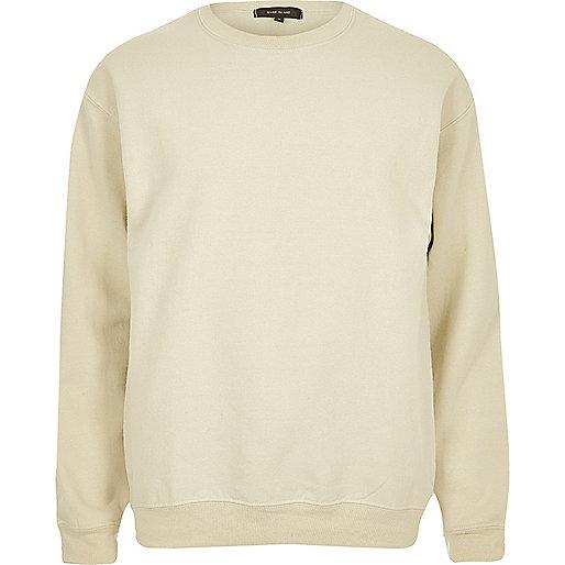 Beiges Sweatshirt mit Rundhalsausschnitt
