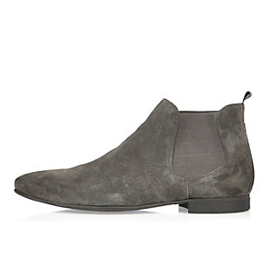 Graue Chelsea-Stiefel aus Wildleder