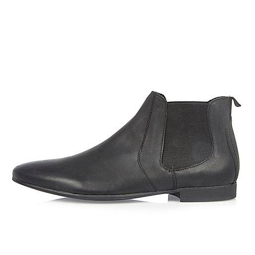 Schwarze Chelsea-Stiefel aus gebürstetem Leder