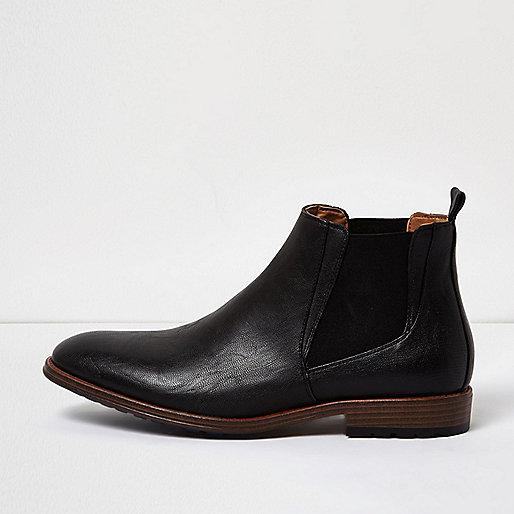 Black tough Chelsea boots