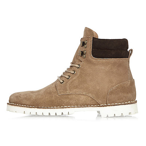 Stone suede boots
