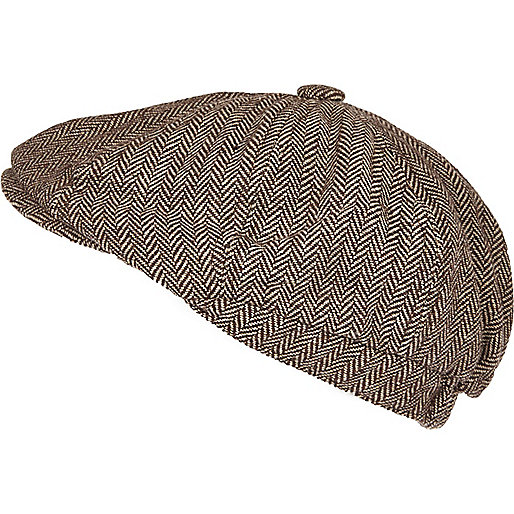 Brown herringbone baker boy hat