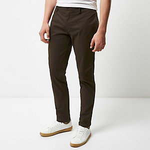Brown slim fit chino trousers