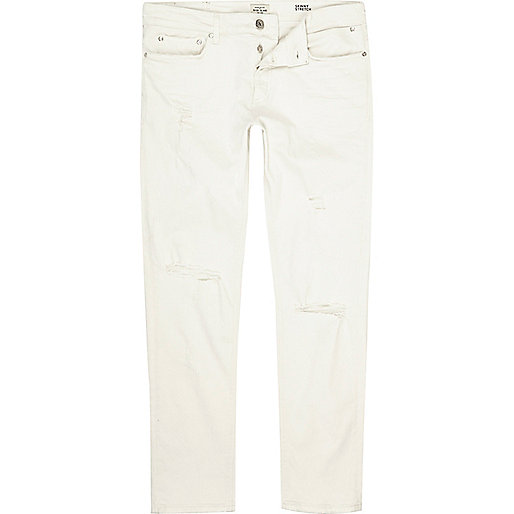 White ripped Sid skinny jeans