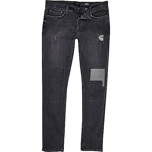 Graue Skinny Jeans im Used-Look