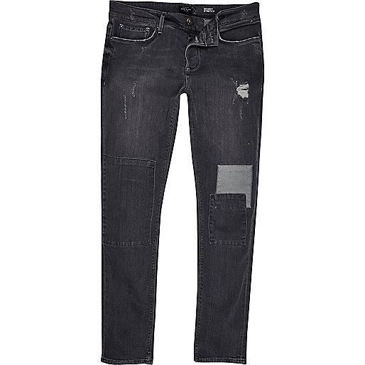 Jean skinny gris avec déchirures