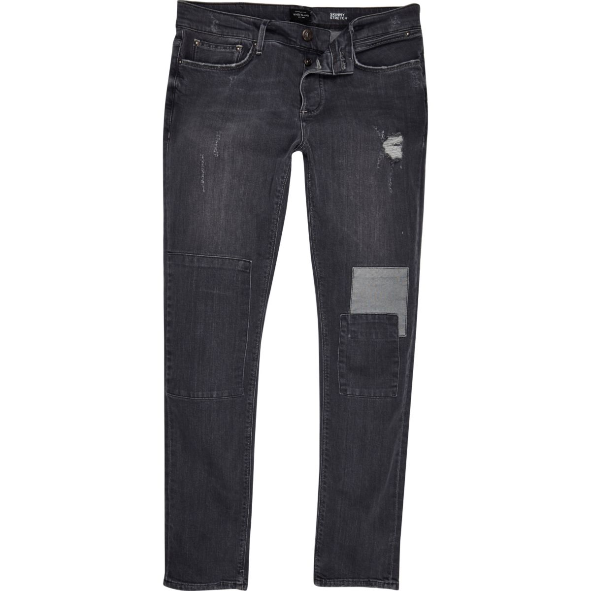Grey skinny jeans with rips