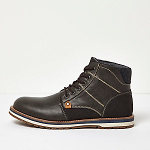 Grey lace-up work boots