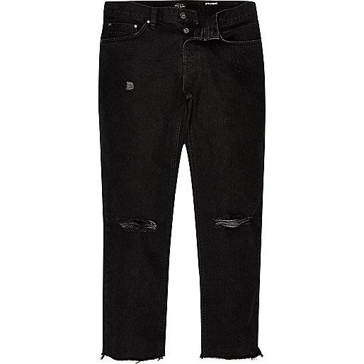 Dean – Schwarze Straight Jeans im Used-Look