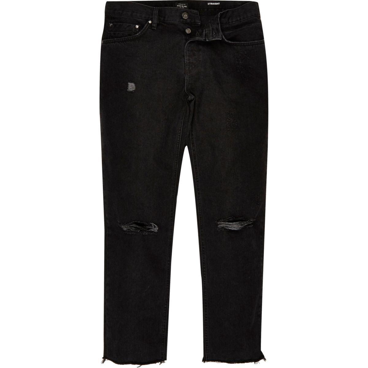 Dean zwarte ripped rechte jeans