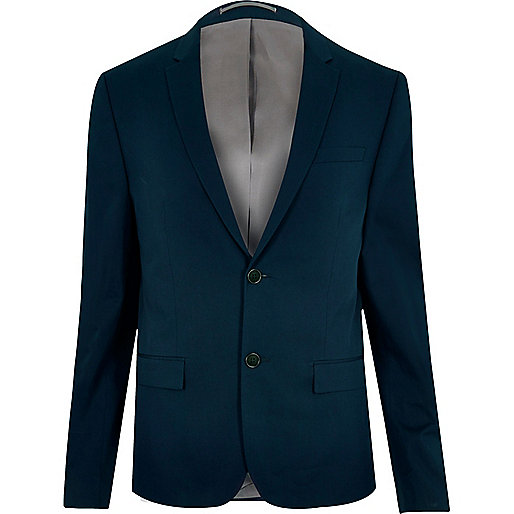 Navy cropped skinny suit jacket
