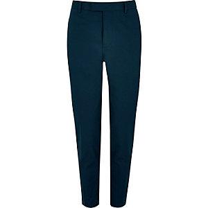 Navy cotton skinny suit pants