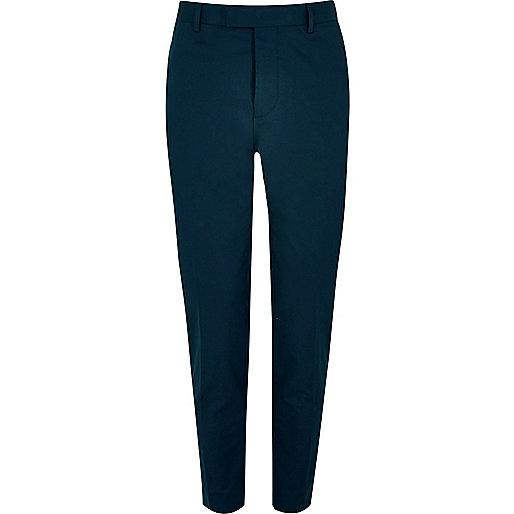 Pantalon de costume skinny en coton bleu marine