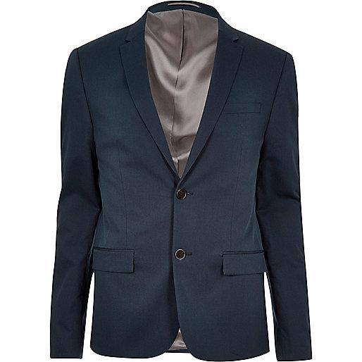 Veste de costume courte bleue coupe skinny