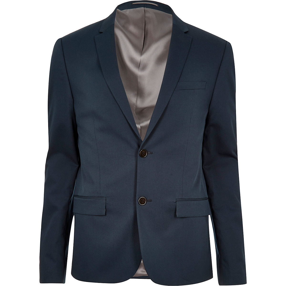 Blue skinny cropped suit jacket