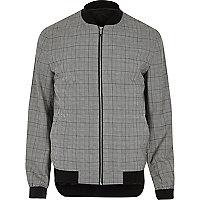 Grey check formal bomber jacket