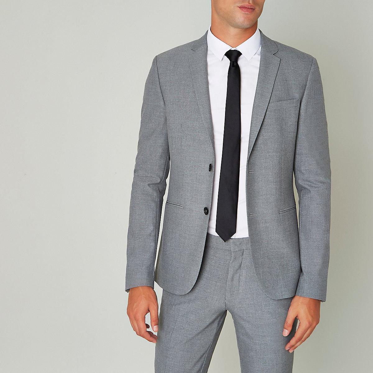 Grey super skinny fit suit jacket