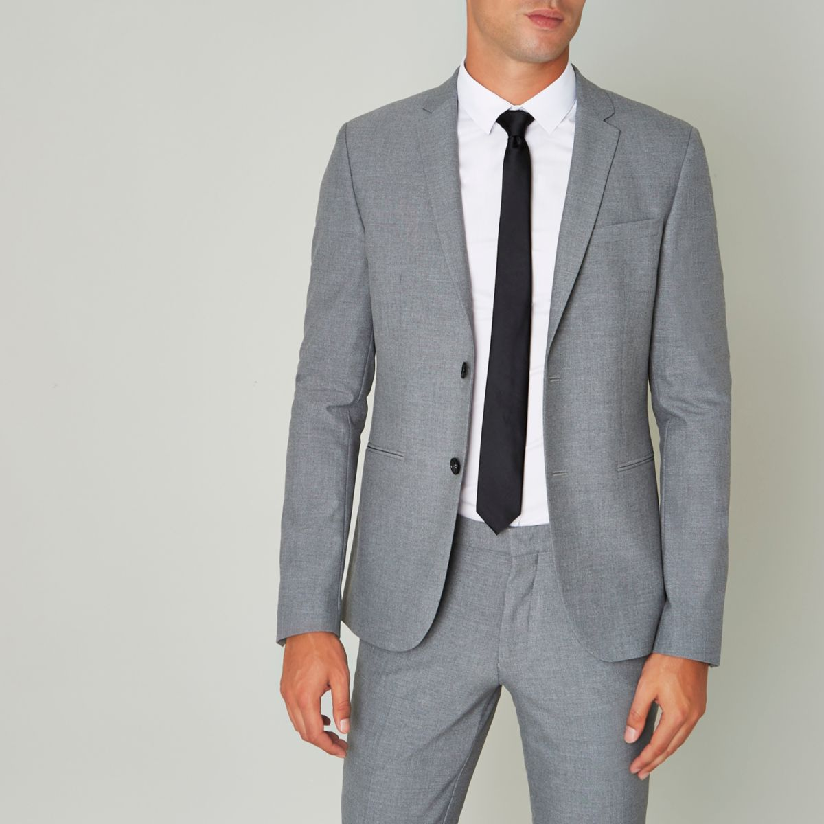 Grey Super Skinny Fit Suit Jacket by River Island