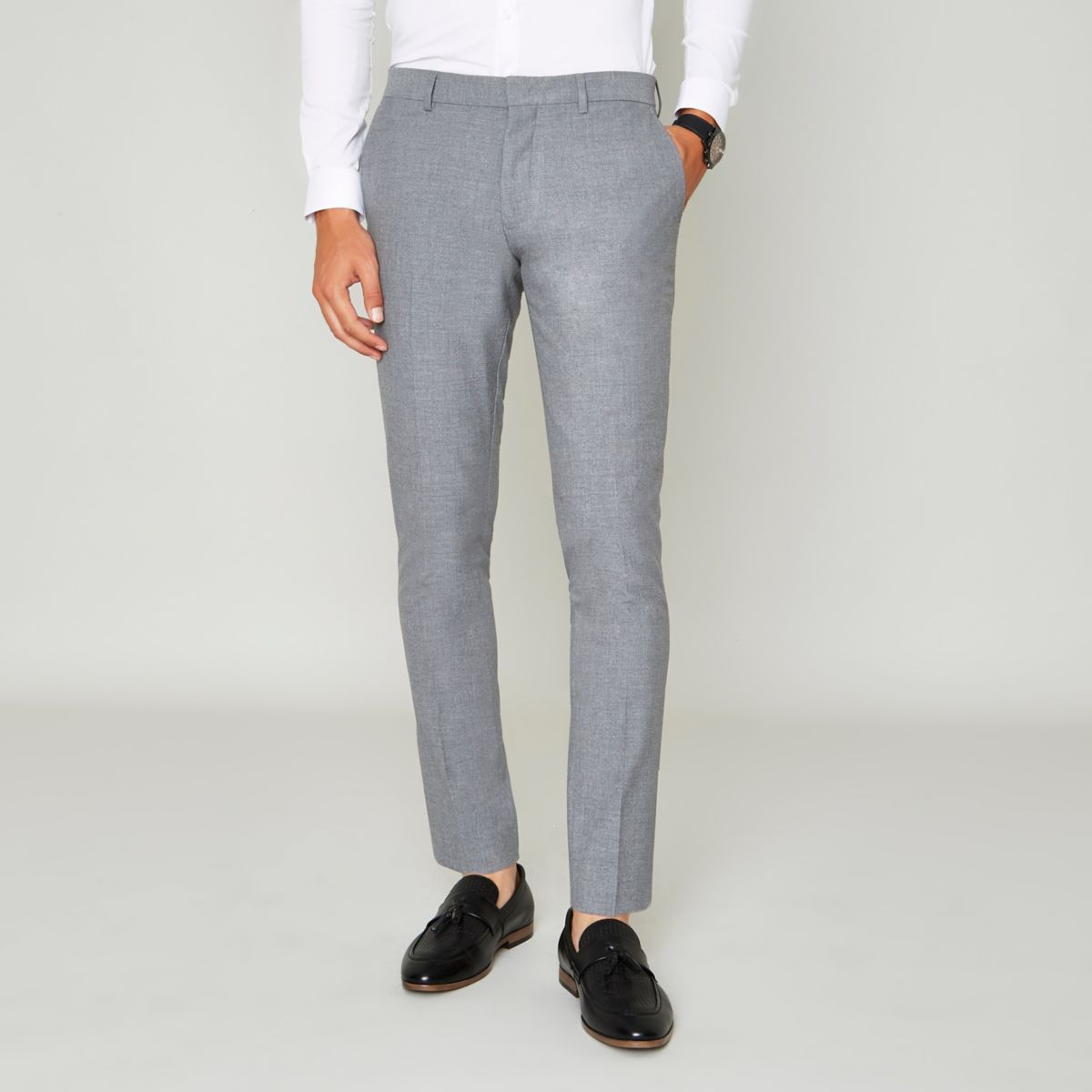 Grey super skinny suit trousers