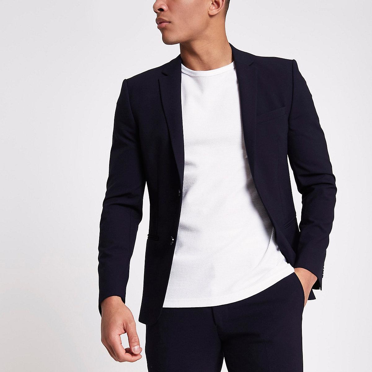 Navy super skinny fit suit jacket