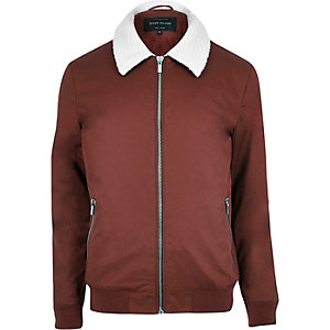 Rust fleece collar harrington jacket