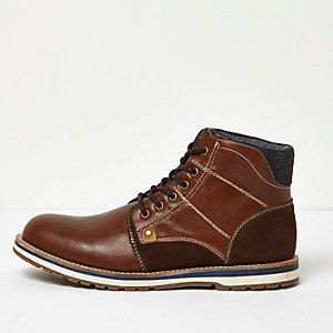 Brown lace-up work boots