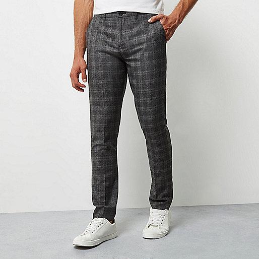 Pantalon skinny à carreaux gris habillé