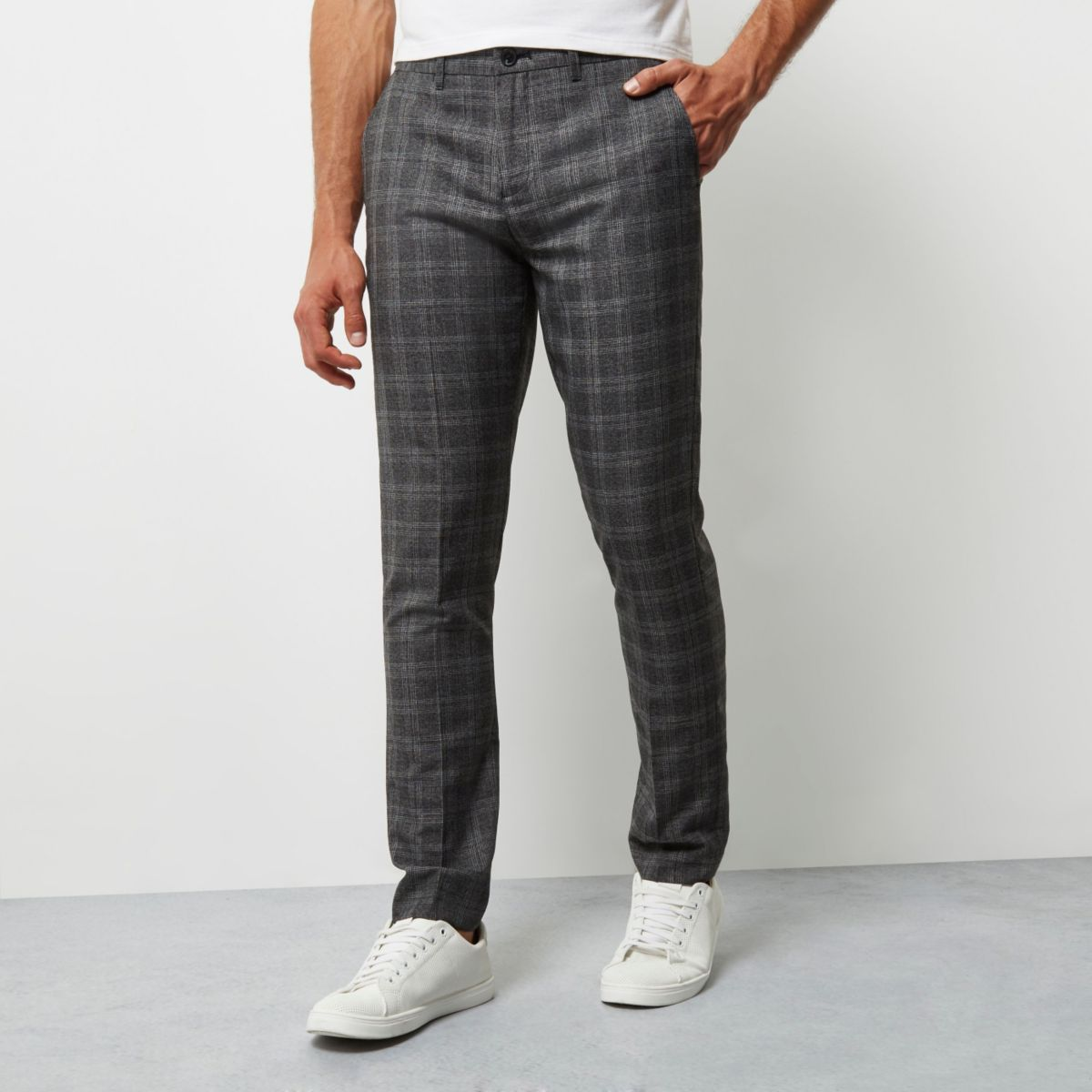 Grey check smart skinny trousers