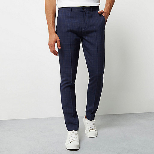 Navy check smart skinny trousers
