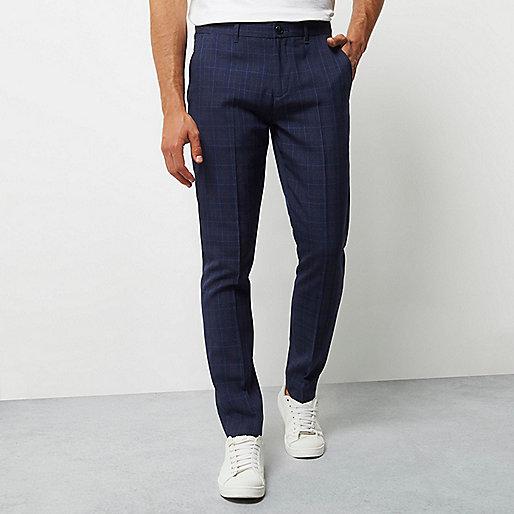 Pantalon skinny à carreaux bleu marine habillé