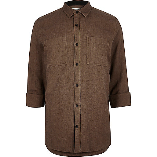 Brown herringbone casual shirt