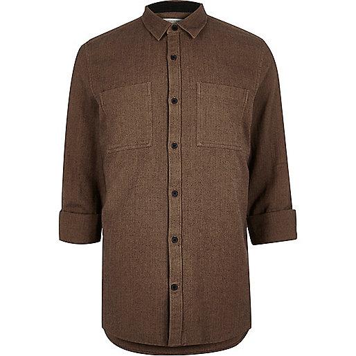 Brown herringbone casual shirt