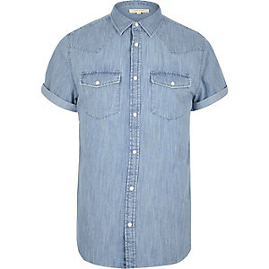 Bleached blue casual western denim shirt