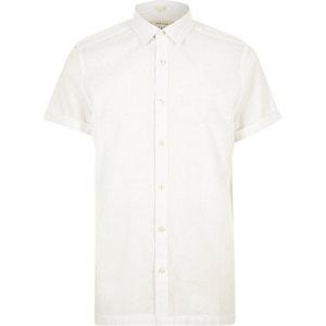 White seersucker short sleeve shirt