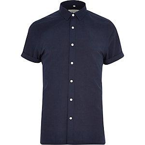 Navy seersucker short sleeve shirt